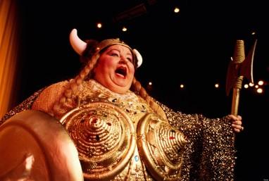 Comical portrayal of 'Brunnhilde' from Wagner's opera Die Walkure